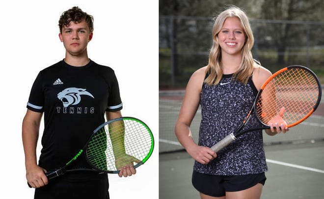 Southside's Noah Hefner, left, and Sardis' Caroline Johnson were named The Gadsden Times' tennis players of the year for the 2021 season.
