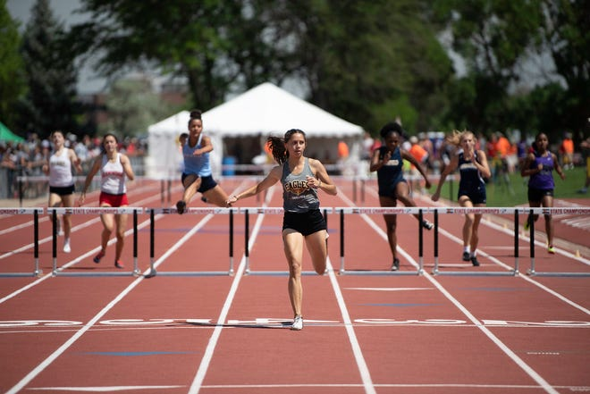 Pueblo East's Leyah Martinez crosses the finish line of the 300m hurdles far ahead of competition during the Class 4A state track and field meet on Friday, June 25, 2021 at Jeffco Stadium in Lakewood.