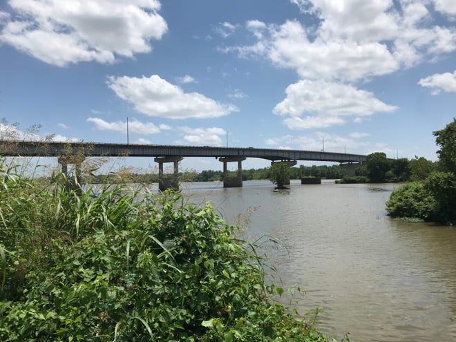 """The bridge over the Arkansas River on Highway 64/U.S. 71-B between Midland Boulevard in Fort Smith and Broadway Street in Van Buren has been listed as """"structurally deficient"""" by the Arkansas Department of Transportation. This photo was taken June 25, 2021."""