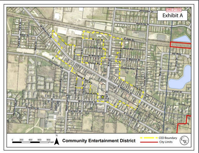 Canal Winchester City Council heard the first of three readings June 21 of an ordinance that would create a community entertainment district in the area around Waterloo and High streets.