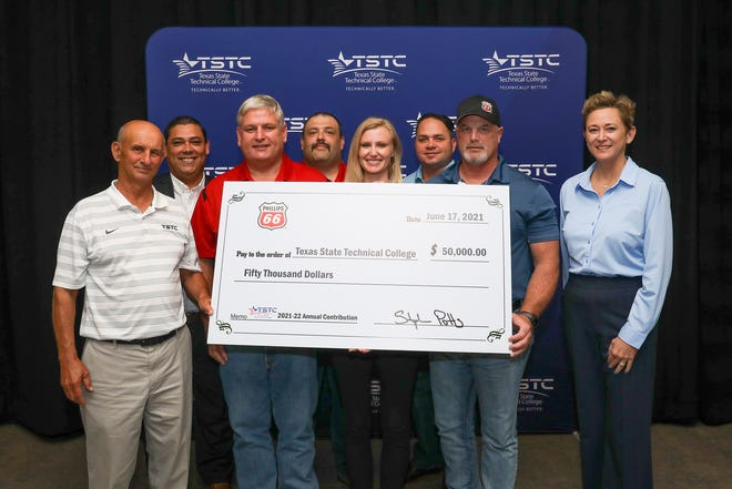 Representatives from Phillips 66 presented a $50,000 check for scholarships to The TSTC Foundation Thursday, June 17. Pictured are (from left): Pete Rowe, vice president of Development, TSTC; Edgar Padilla, provost of Waco campus, TSTC; Chad Herzog, Sweeny Refinery, Phillips 66; Noel Hernandez, Borger Refinery, Phillips 66; Rachel O'Donnell, Talent Acquisition, Phillips 66; Joe Owens, Sweeny Refinery, Phillips 66; Mike McGee, Midstream, Phillips 66; Beth Wooten, CEO of The TSTC Foundation.