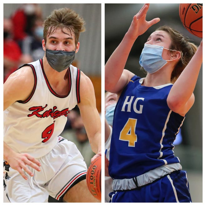 Left: Seniors Preston Ruedinger of Lourdes Academy (left) and Mackenzie Holzwart of Howards Grove were named boys and girls athletes of the year, respectively, during Wednesday's Northeast Wisconsin High School Sports Awards show.
