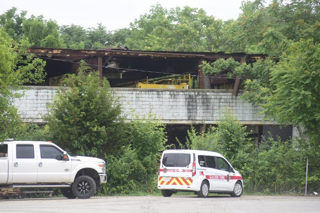 A Galion Fire Department vehicle was still on the scene Friday morning after a fire at Flick Packaging on Thursday night.