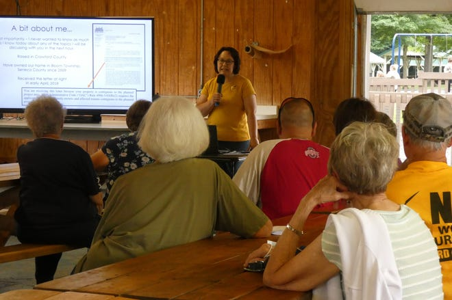 Kimberly Groth of Crawford-Seneca Anti-Wind addresses a crowd of about 40 people during an informational meeting Thursday evening in Aumiller Park.