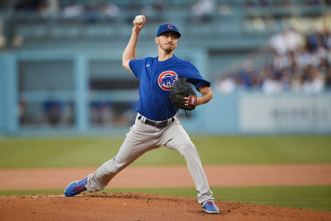 Chicago Cubs starting pitcher Zach Davies delivers a pitch during the first inning of a baseball game against the Los Angeles Dodgers in Los Angeles, Thursday, June 24, 2021.