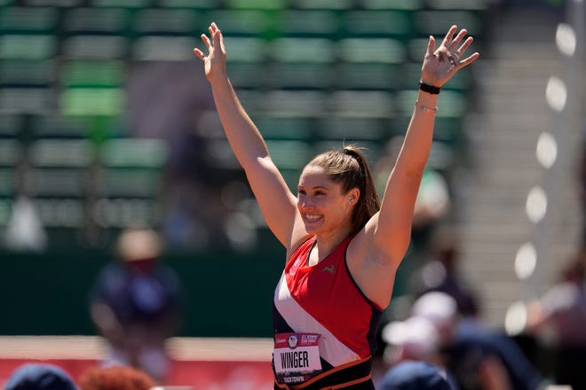 Kara Winger, track and field  Event: Javelin. Indiana link: Purdue. Age: 35.