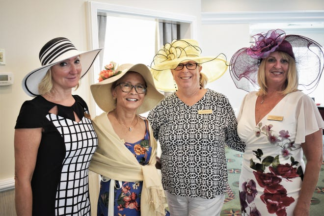 Holly Grau, Joan Depaolis and Camilla Sawick wearing their Derby hats.