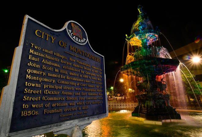 Court Square Fountain, in Montgomery, Ala., is rainbow colored for Pride Month as seen on Thursday June 24, 2021.