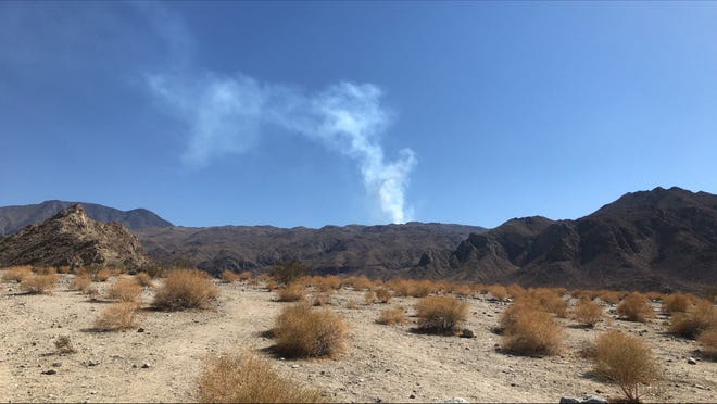 Smoke is visible from near Bear Creek Trail in La Quinta on June 25, 2021.