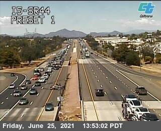 A California Department of Transportation camera shows traffic backed up on southbound Interstate 5 due to a crash on Friday, June 25, 2021.