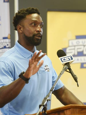 Inductees in the 2021 Louisiana Sports Hall of Fame attend a press conference Thursday afternoon Louisiana Sports Hall of Fame and Northwest Louisiana History Museum. Charles Tillman