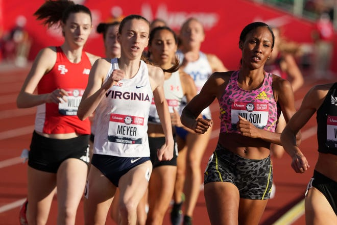 Roisin Willis, far left, of Stevens Point competes in the third heat in the women's 800-meter run at the US Olympic Team Trials at Hayward Field in Oregon on Thursday.