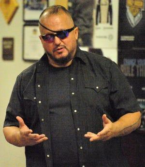 Oath Keepers founder Stewart Rhodes speaks during a Wichita Falls meeting Thursday, June 24, 2021.