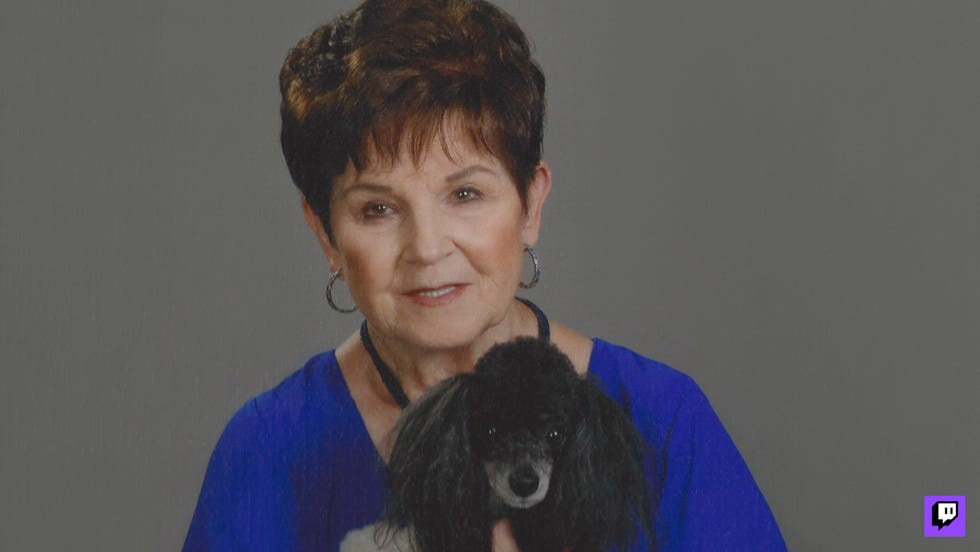 WowGrandma78, shown along with her poodle Zoey, has been an instant hit since the 79-year-old great-grandmother from Arizona began gaming on Twitch in 2020.