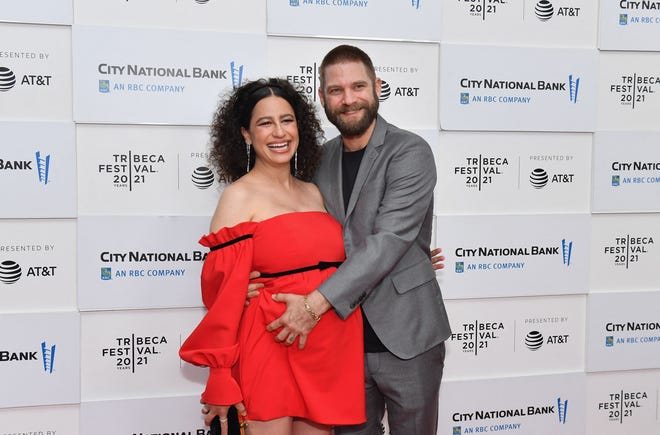 """""""False positive"""" star / co-writer Ilana Glazer, left, and husband David Rooklin at the film's premiere at the Tribeca Festival earlier this month."""