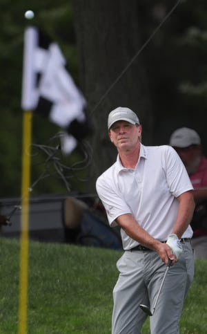 Steve Stricker watches his shot to the No. 16 pin during the third round of the Bridgestone Senior Players Championship at Firestone Country Club on Saturday, June 26, 2021, in Akron, Ohio.
