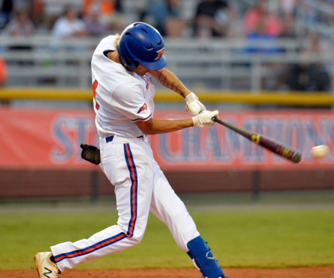 Randleman's Braylen Hayes smacks a two-run double in the first inning against Rutherfordton-Spindale Central. [Mike Duprez/Courier-Tribune]