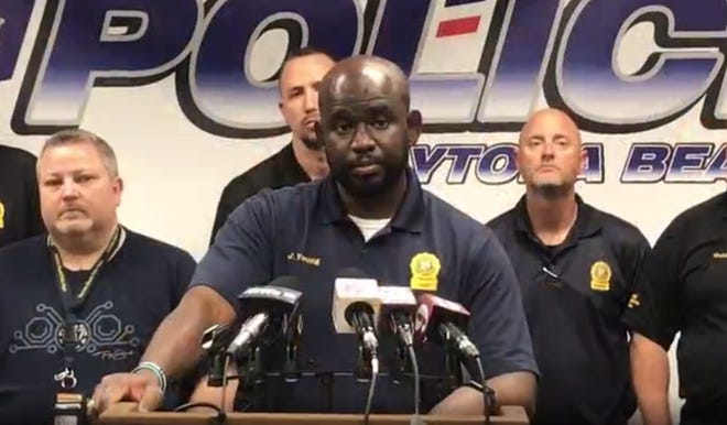 Daytona Beach Police Chief Jakari Young details the arrest and capture of suspect Othal Wallace in a Georgia treehouse during an early morning press conference