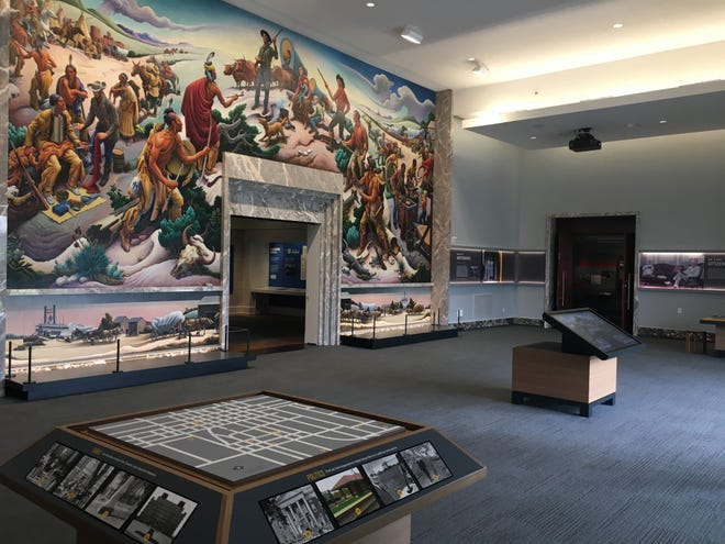 The Thomas Hart Benton mural 'Independence and the Opening of the West' is the dominant feature of the 'Truman's Independence' section of the renovated Truman Library.