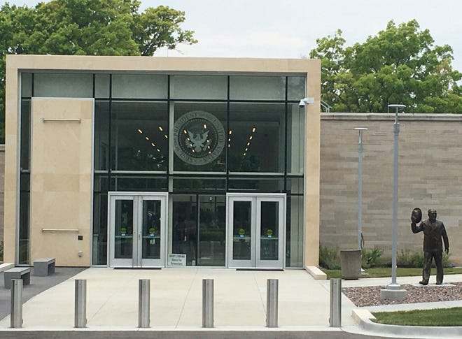 The new visitors entrance to the Truman Library in Independence is on the east side, leading to an spacious and well-lit gallery that offers a view into the courtyard where Harry and Bess Truman are buried.