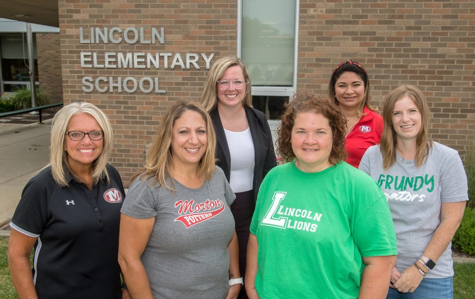 Shown from left to right are Julie Albers, principal of Lincoln Elementary School; Kelly James, nurse at Morton High School; Amanda Rickenberg, Morton School District assistant director of student support services; Jennifer Cook, nurse at Lincoln Elementary School; Maria Miranda, certified medical assistant at Morton Junior High School; and Lindsay Phillips, nurse at Grundy Elementary School. Morton School District has dropped its longstanding contract with UnityPoint Health in favor of hiring its own nurses at each of its schools.