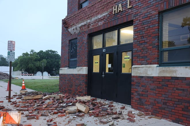 A storm passed through Newton June 25 and 26, damaging Lindley Hall on North Poplar Street. The Newton USD 373 is grappling with the cost of repair to that damage, and structural issues found later.
