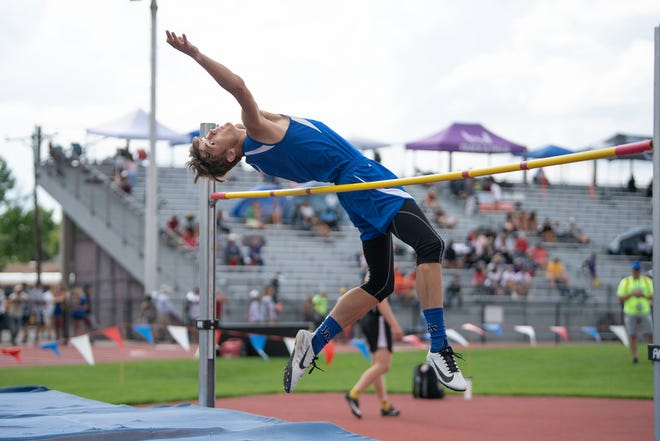 Las Animas' Markus Vigil clears the bar for a second place finish in the Class 2A boys high jump at the state track and field meet on Saturday, June 26, 2021 at Jeffco Stadium in Lakewood.