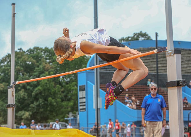 St. Raphael's Elizabeth Murphy competes in the high jump during Saturday's state meet.