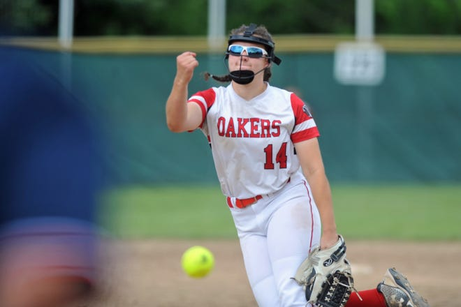 Coventry's Samantha Bergantino fires a strike during the state championship softball game Saturday at Rhode Island College.