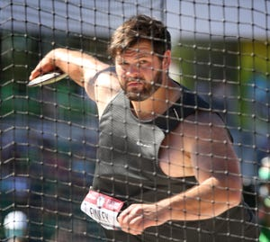 Mason Finley competes in the men's discus at the U.S. Olympic Track and Field Trials at Hayward Field.
