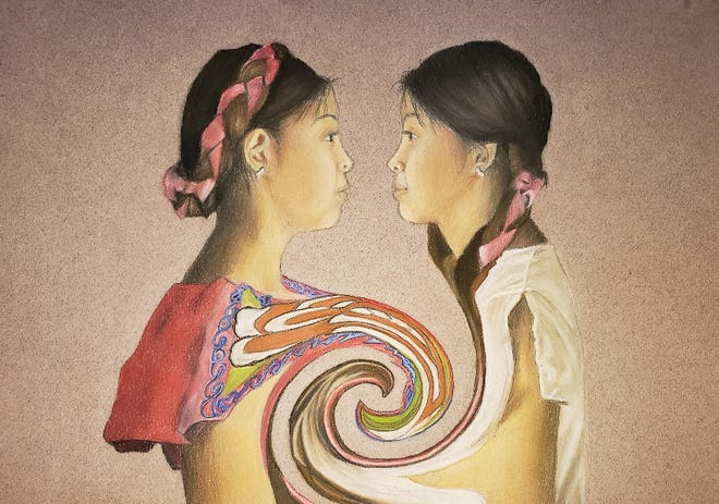 """Sheily Torres' chalk pastel drawing """"Cultural Swirl."""""""