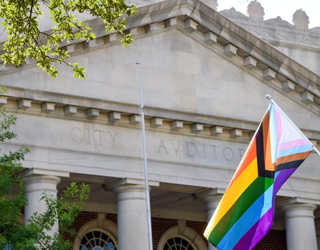 Pride flags fly at City Hall in Montgomery, Ala., on Friday June 25, 2021.