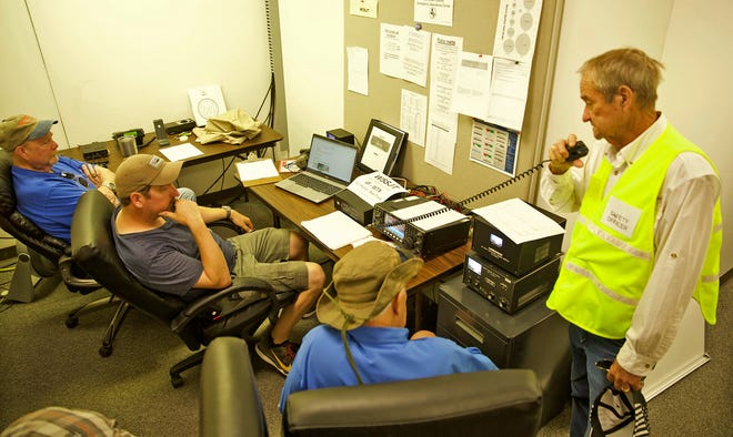 Members of the San Angelo Amateur Radio Club test their equipment at the city of San Angelo and Tom Green County Emergency Operations Center on Saturday, June 26, 2021.