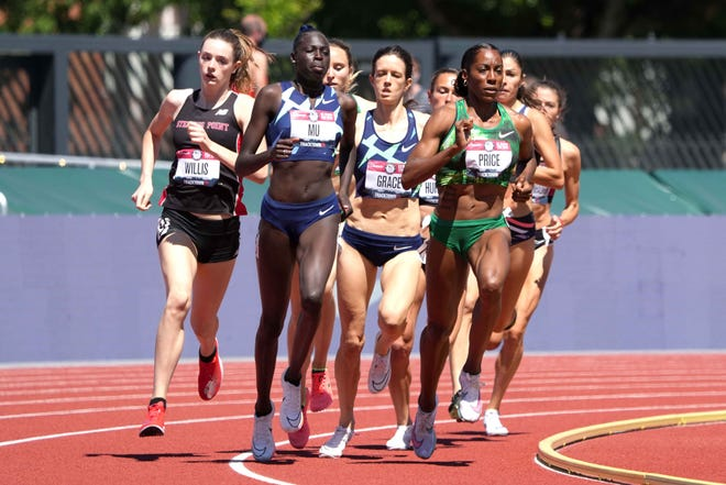 Stevens Point's Roisin Willis, far left, competes in the semifinals of the 800-meter run during the United States Olympic Team Trials on Friday in Eugene, Oregon. Willis is a junior at Stevens Point Area Senior High School.