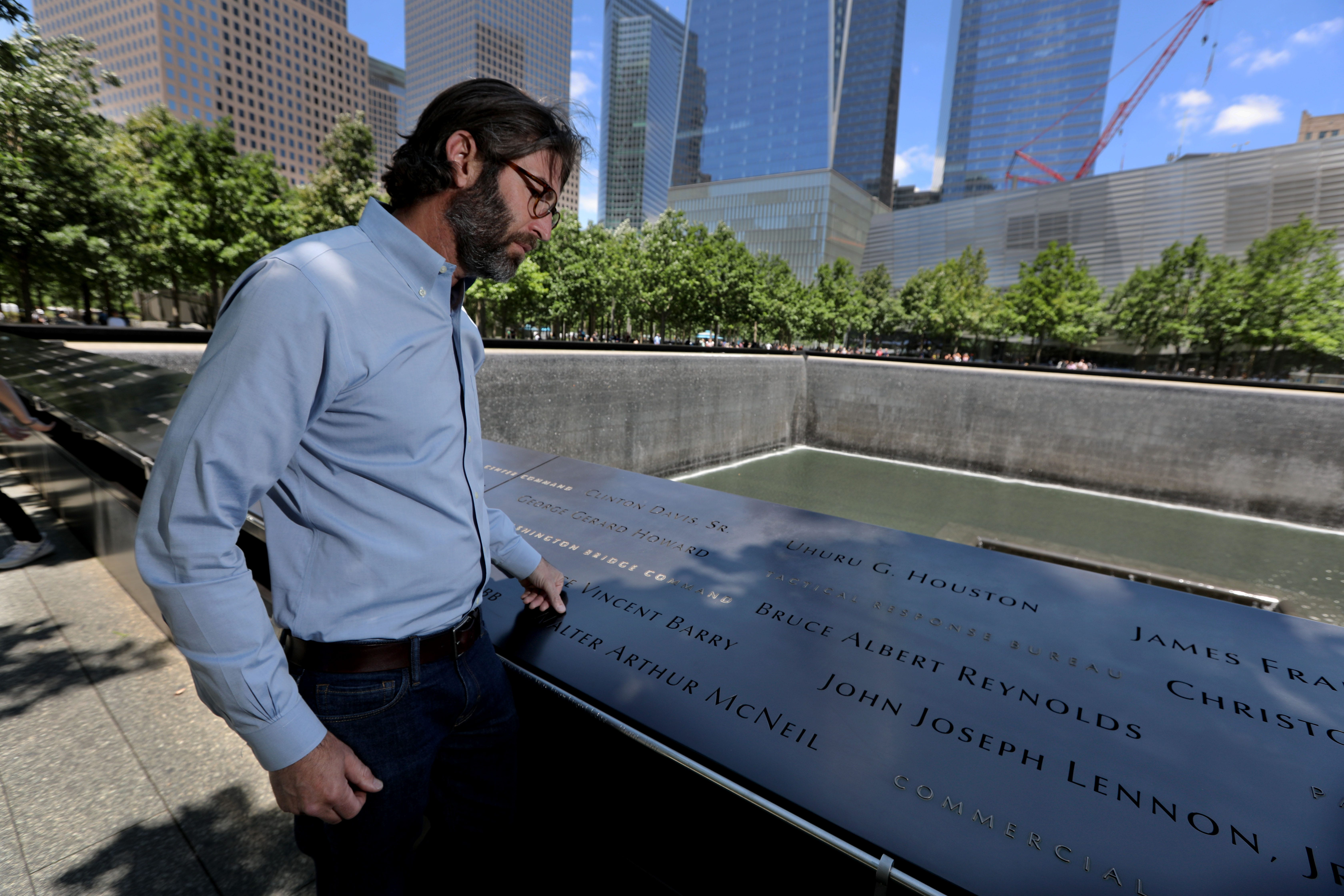 Michael Arad, designer of the 9/11 Memorial at the World Trade Center in Manhattan, spends time at Memorial on June 24, 2021.
