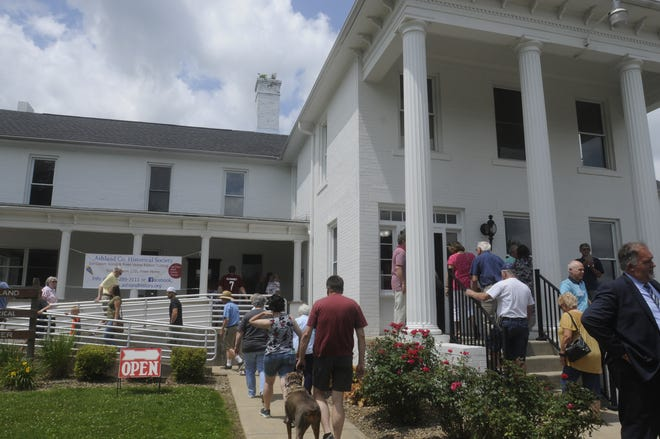 The public lines up to view the renovations of the Ashland County Historical Society's  Children's Home Sunday June 27,2021.STEVE STOKES/FOR TIMES-GAZETTE.COM