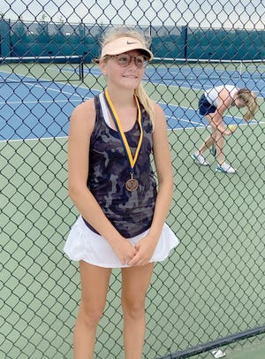 Boonville tennis player Emma Neidig placed third in the KC Summer Slam Series in Kansas City last Wednesday at Liberty North/Staley High School. Neidig was the No. 16 seed out of 32 players in the girls varsity division.