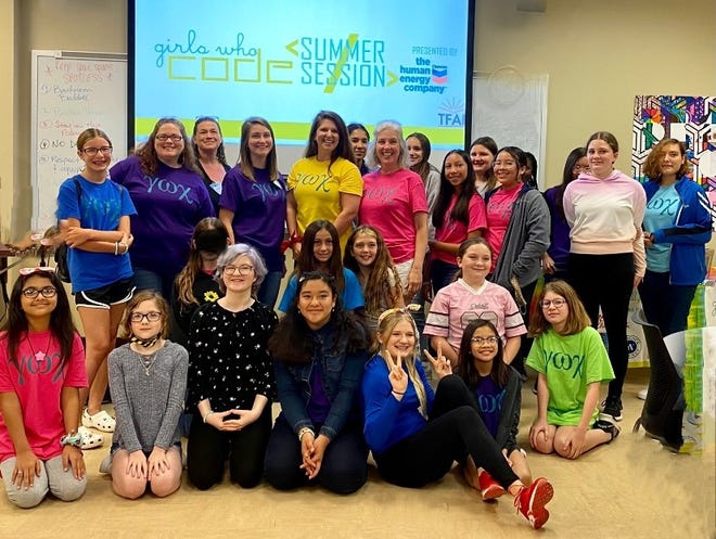 Girls Who Code summer camp participants and instructors.