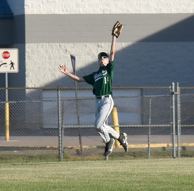 Herkimer's Christian Allen makes a leaping catch in center field for an out during a June 24 game against Ilion at Harmon Field in Herkimer.
