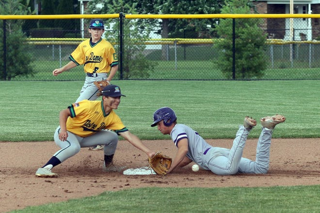 Burlington Grayhounds' Brock Dengler safety steals second base as Notre Dame's Carson Chiprez waits for the throw and Spencer Brent backs up on the play Saturday at Winegard Field in Burlington.