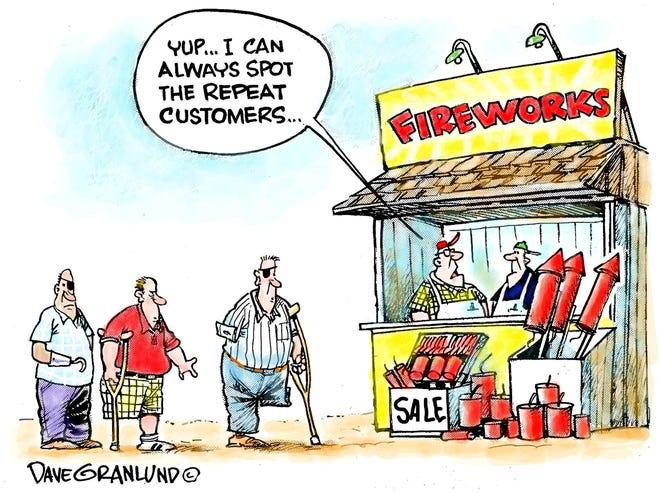 A Dave Granlund cartoon on firework safety