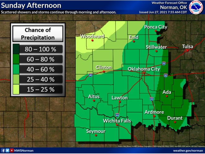 This National Weather Service forecast map shows showers and storms were expected to continue throughout the area Sunday.