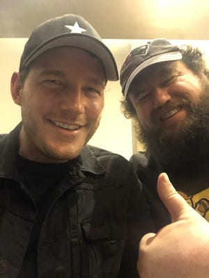 """Quincy native Chris Pratt and Mike Mitchell take a break from filming the alien invasion thriller, """"The war of tomorrow."""""""