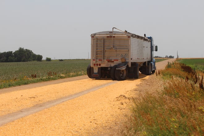 Corn spilled on the roadway is just minor consideration after a pickup vs semi accident near the intersection of NE 10th Avenue and 40th Street last Thursday in which the back axle of the semi trailer was broken on impact.