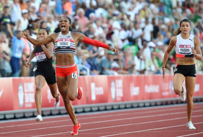 Gabby Thomas, center, wins the women's 200 meters with Allyson Felix, left, in fifth and Jenna Prandini capturing second place during the Olympic Track & Field Trials at Hayward Field on Saturday.