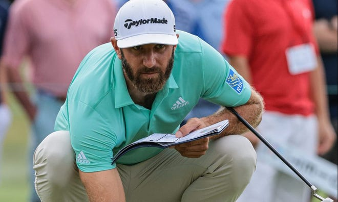 Dustin Johnson moved into contention to defend his title in the Travelers Championship at Cromwell.