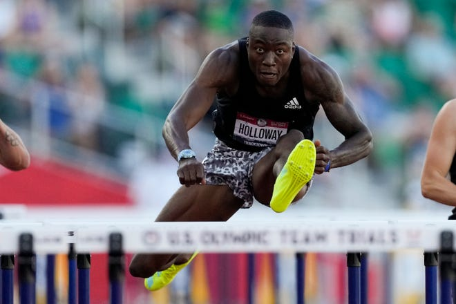 Former University of Florida standout Grant Holloway wins the final of the men's 110-meter hurdles Saturday at the U.S. Olympic Track and Field Trials in Eugene, Ore.