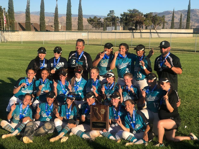 The Sultana softball team poses for a photo after beating Oxnard in the CIF State Regional Division 2 on Saturday.