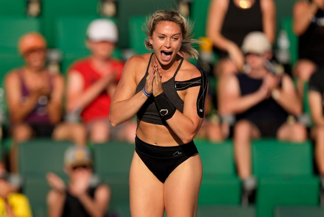 Morgann LeLeux celebrates during the finals of the women's pole vault at the U.S. Olympic Track and Field Trials Saturday, June 26, 2021, in Eugene, Ore. (AP Photo/Charlie Riedel)