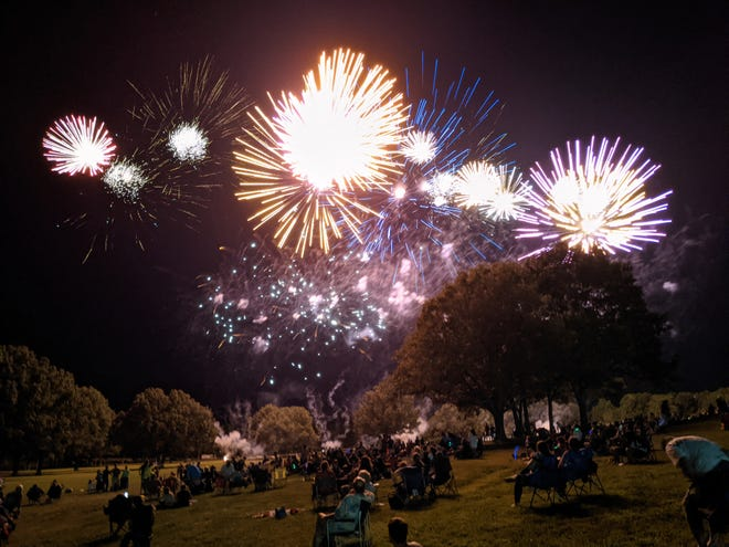 Fireworks burst above the campus of Arkansas State University-Mountain Home. The Red White & Blue Festivals firework show ran for 20 minutes in this year's post Covid- 19 celebration.